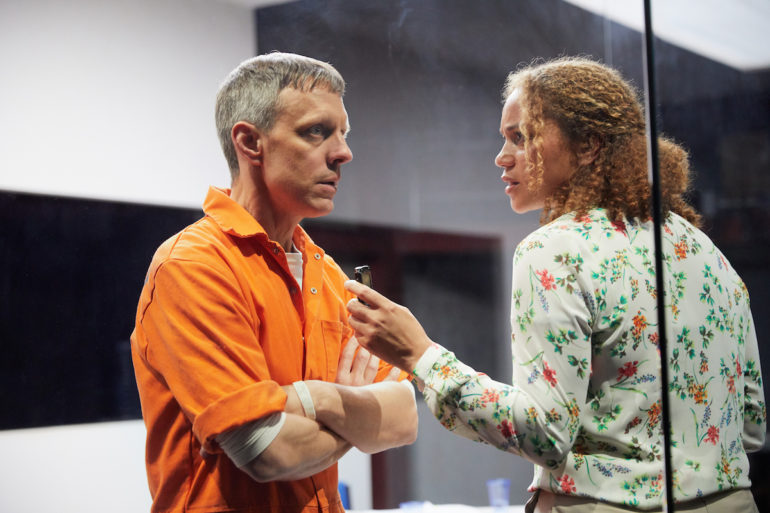 Trevor white and angela griffin in building the wall at the park theatre. photo by mark douet 50a2512 1