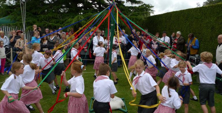 Maypole dancing at beaulieu village fete