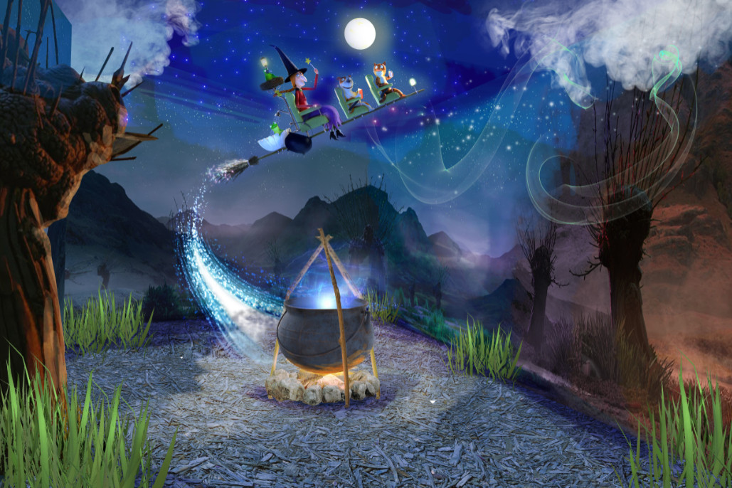 Conceptual image of room on the broom a magical journey (6)