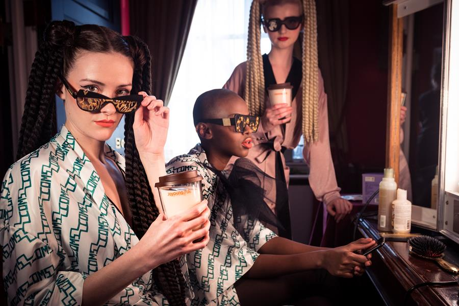Models wearing victor wong sunglasses drinking joyoung soya milk, london fashion week, 2019