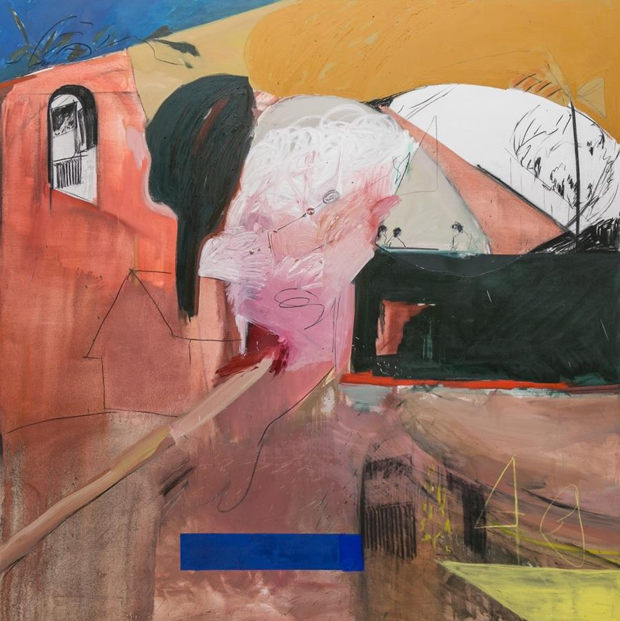 Emma fineman, my hometown was burning and all i could think of was that sun bleached wall i pictured in a dream about the dominican republic, 2017, oil and charcoal on canvas, 235 cm x 235 cm​