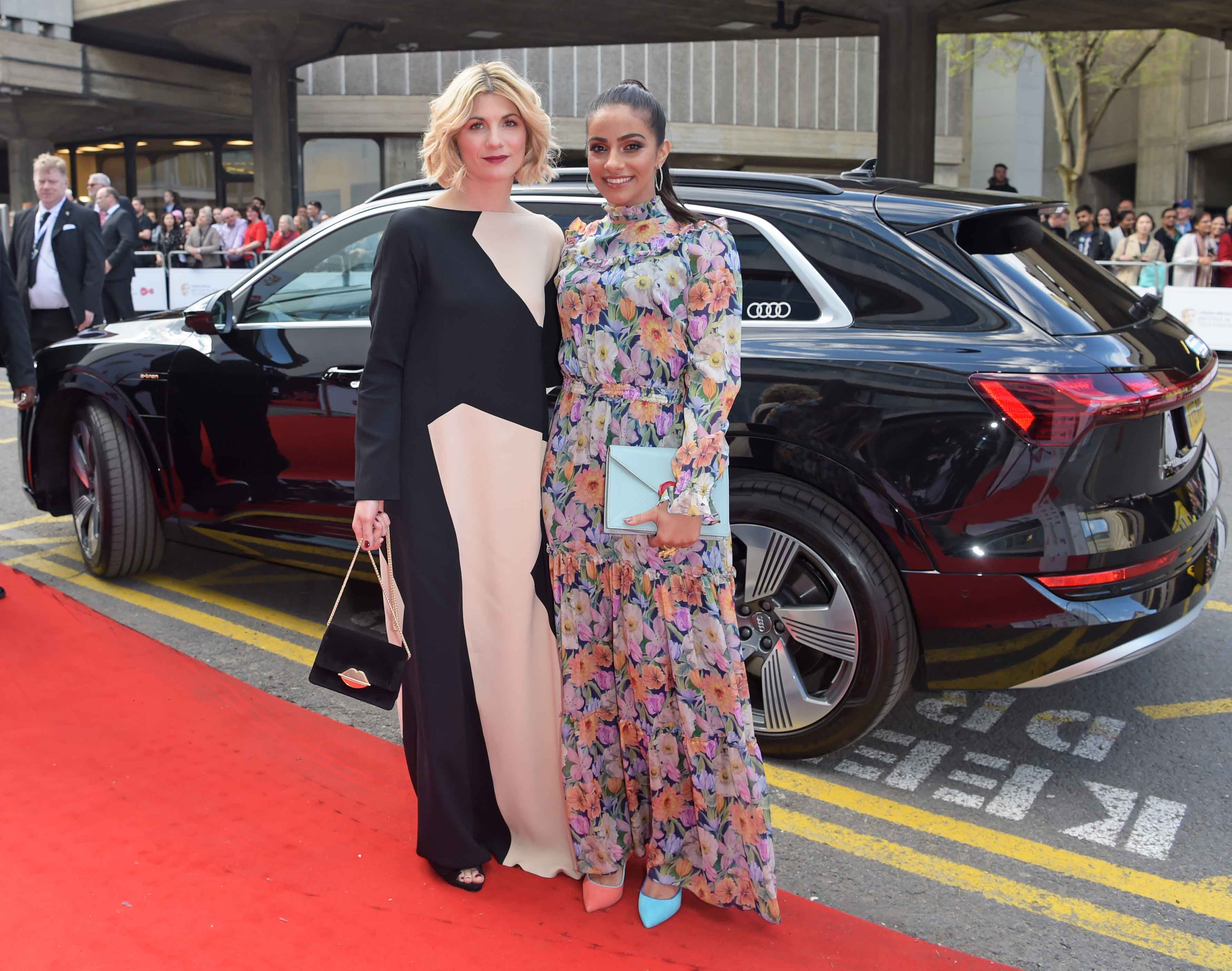 Jodie whittaker & mandip gill arrive in an audi e tron at the virgin media british academy television awards at the royal festival hall, london, sunday 12 may 2019