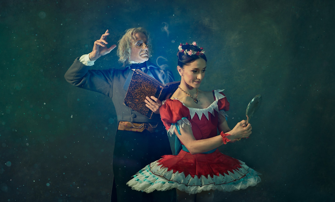 Gary avis as dr coppélius and marianela nuñez as swanilda in coppélia ©2019 roh. photograph by gavin smart small