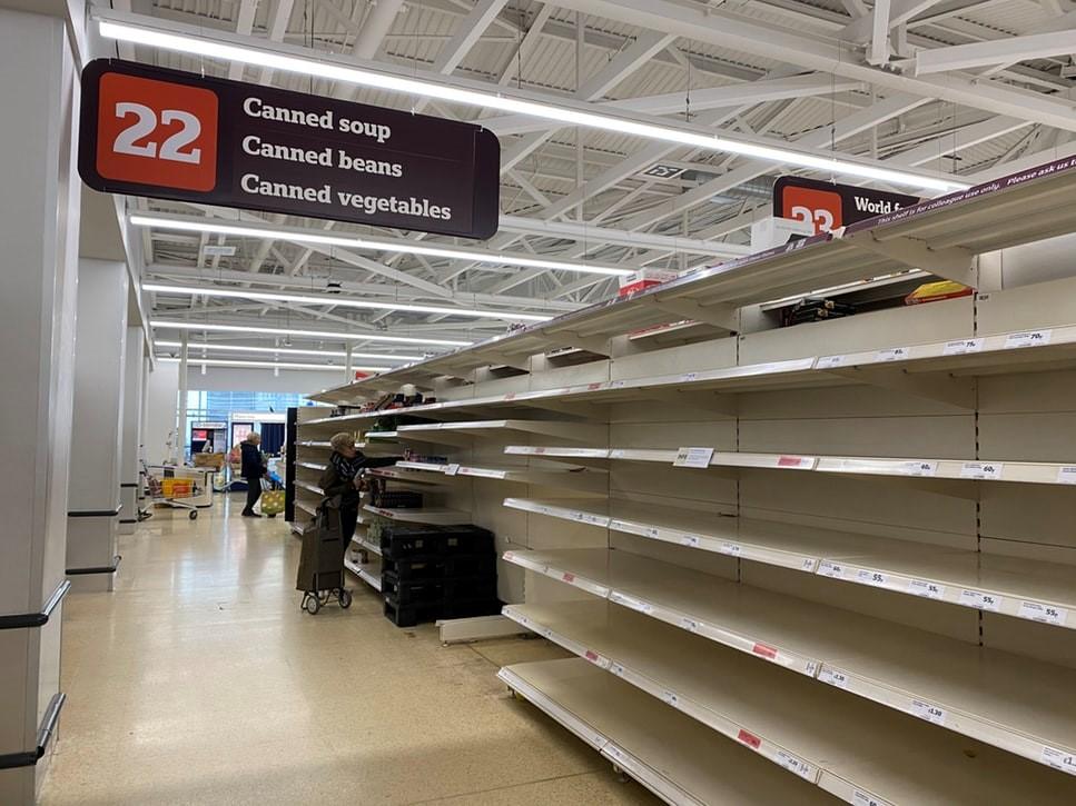 Empty shelves in uk supermarket covid 19